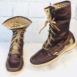 Sperry Top-Sider Brown Leather High Top Deck Boots